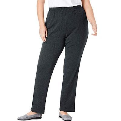 Woman Within Plus Size Petite Knit Straight Leg Pant