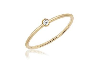 Diamond Single Bezel Stack Ring