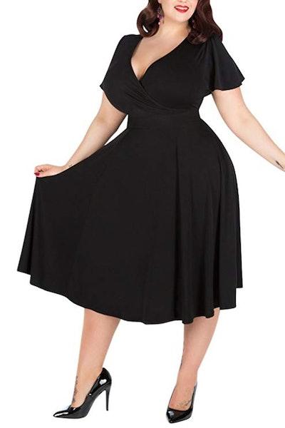 Nemidor Women's Stretchy Midi Plus Size Dress