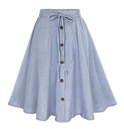 Allonly A-Line High Waisted Pleated Midi Skirt