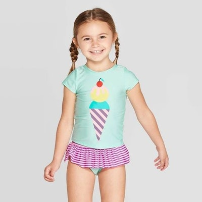 Toddler Girls' Short Sleeve Ice Cream Rash Guard Set - Cat & Jack™ Green