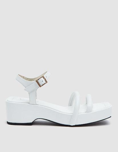 Puffy Strap Platform Sandal in White