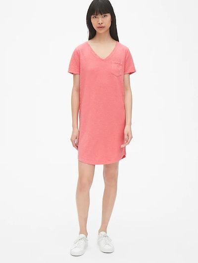 Soft Slub V-Neck T-Shirt Dress