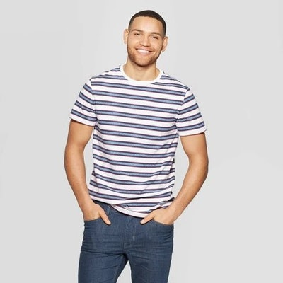 Men's Striped Standard Fit Novelty Graphic T-Shirt - Goodfellow & Co™ Red Velvet