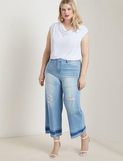 Wide Leg Crop Jean with Release Hem
