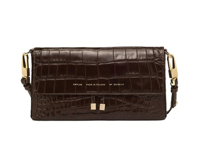 Underarm Flap Bag In Glossy Brown Crocodile