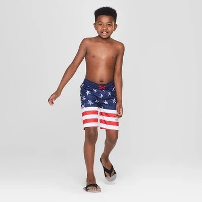 Boys' Flag Print Swim Trunks - Cat & Jack™ Navy
