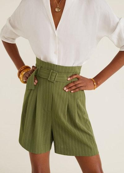 Mango Striped Print Shorts