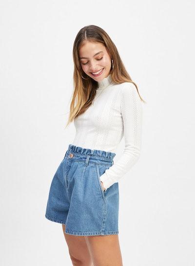 Miss Selfridge Blue paper Bag Denim Shorts