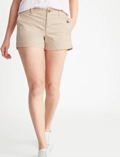 Mid-Rise Twill Shorts