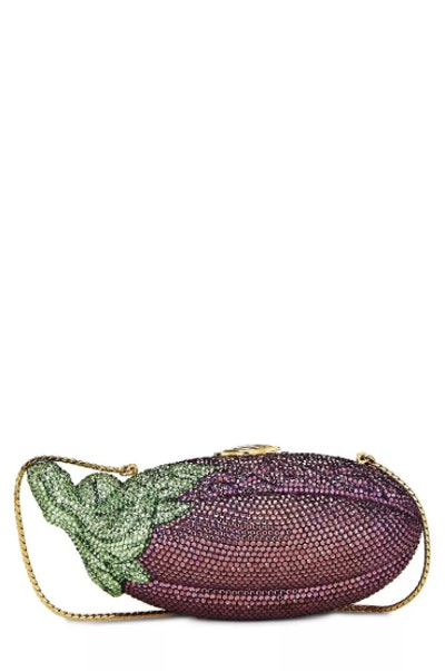 Judith Leiber Purple Crystal Eggplant Minaudière