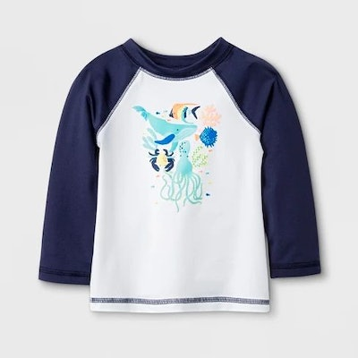Baby Boys' Long Sleeve Sea Creatures Raglan Rash Guard - Cat & Jack™ Navy