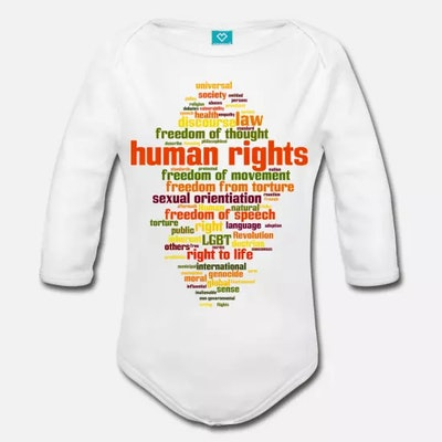 Organic Long-Sleeved Human Rights Baby Bodysuit