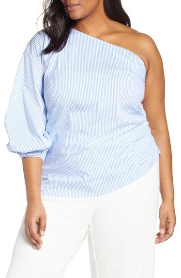 Wu x ELOQUII One-Shoulder Puff Sleeve Blouse, Main, color, BLUE/ WHITE Jason Wu x ELOQUII One-Should...