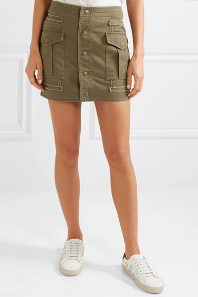 Cotton And Ramie-Blend Twill Mini Skirt