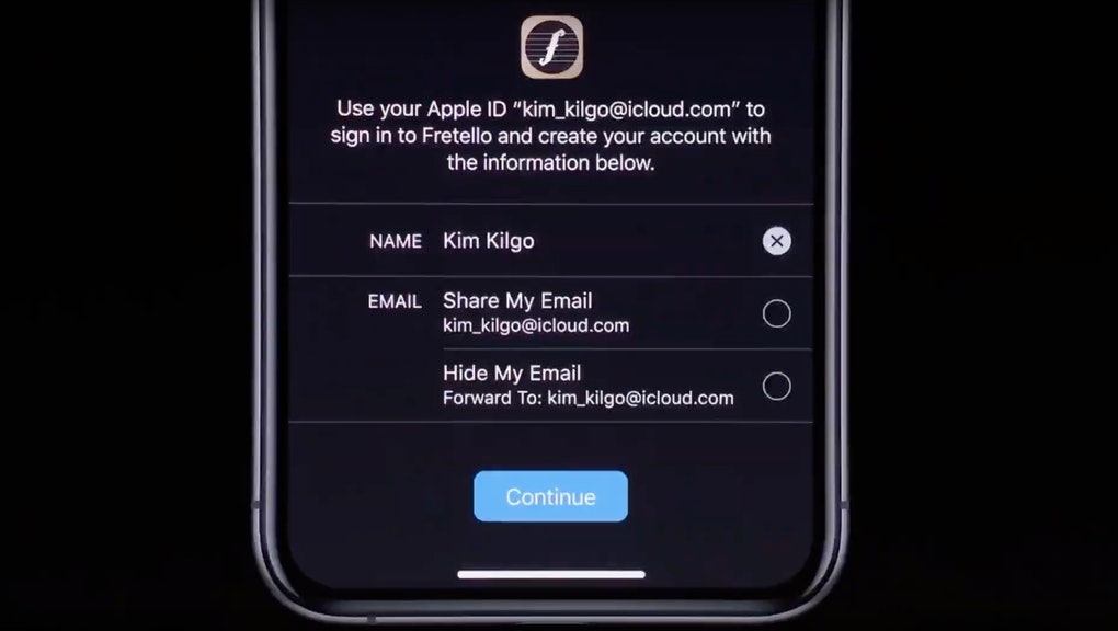 Sign In With Apple lets you create new accounts without getting tracked