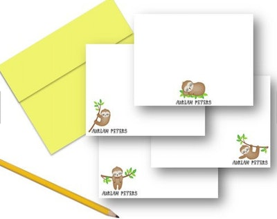 Sloth Note Cards, Kids Sloth Personalized Stationery (Set of 12)