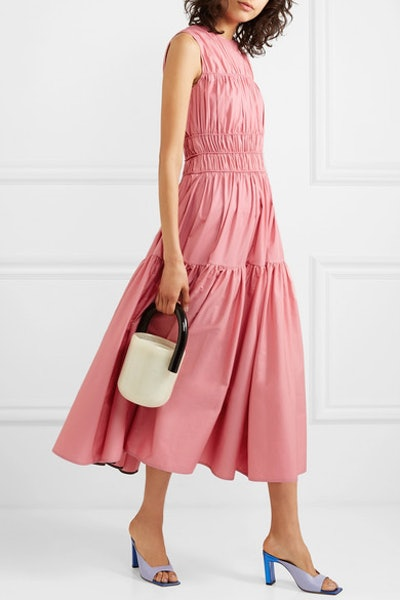 Isilda Gathered Cotton-Poplin Midi Dress