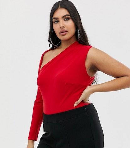 Club L Plus one shoulder body in red