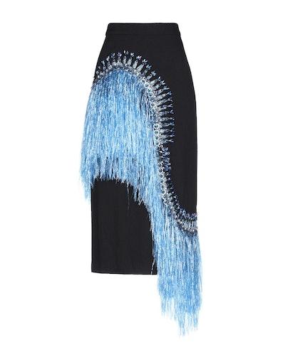 Blue Fringe Midi Skirt