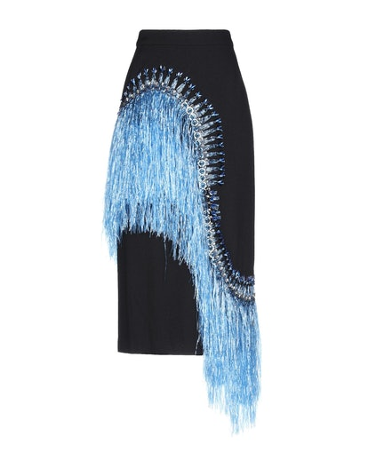 Blue Fringe Midi Skirt