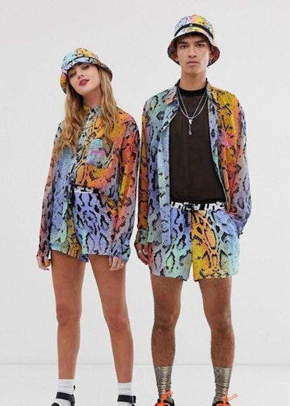 ASOS DESIGN x glaad& Unisex Oversize Sheer Shirt and Runner Short in Snake Print