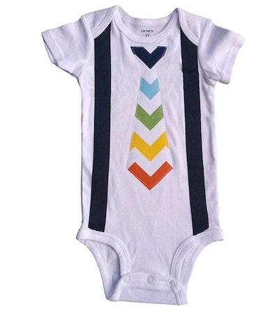 Perfect Pairz Tie Onesie Baby Boutique Clothing Rainbow Chevron