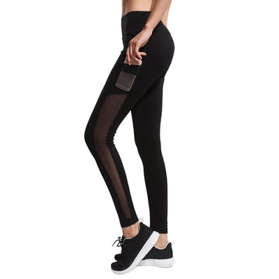 IMIDO Women's Yoga Mesh Leggings With Side Pocket