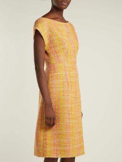 Tweed Mouclé Midi Dress