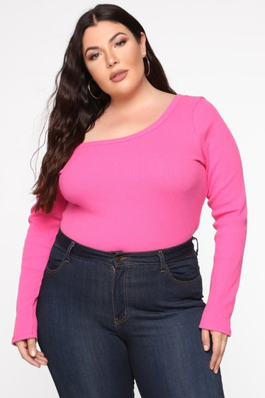 Moments After One Shoulder Top - Fuchsia