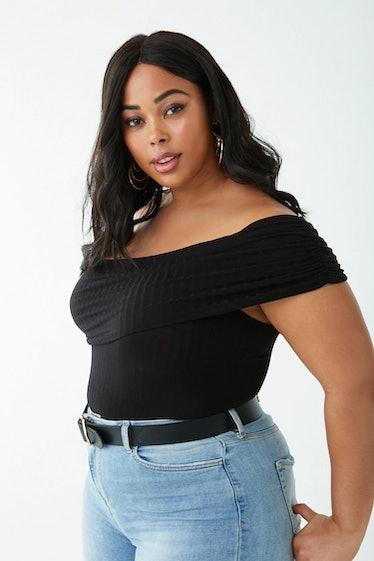 Plus Size Ribbed One-Shoulder Foldover Bodysuit