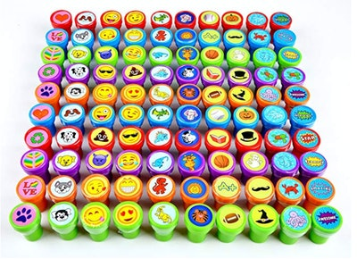 100 Pieces Assorted Stamps for Kids Self-ink Stamps