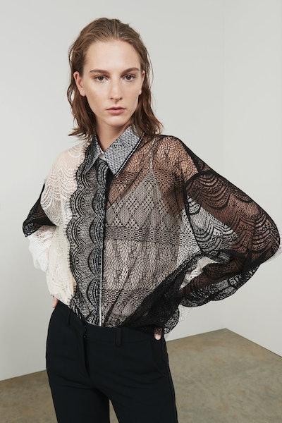 Victoria Beckham Sheer Lace Detail Shirt