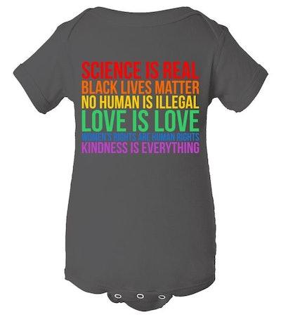 Love Kindness Science Black Lives LGBT Equality Baby Bodysuit