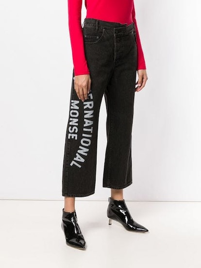 Print Cropped Jeans