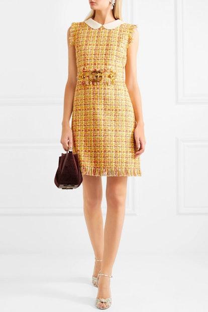 Frayed Tweed Mini Dress