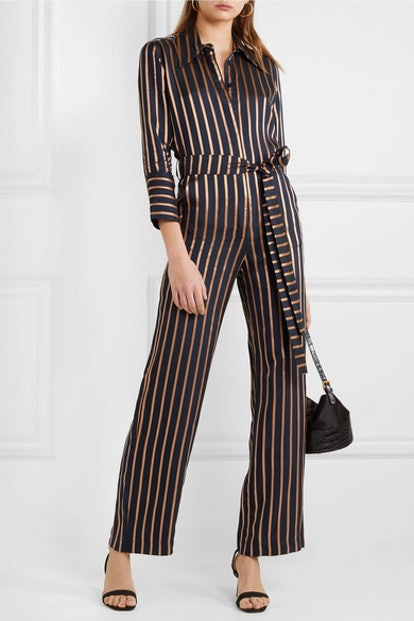 Dexy Belted Striped Jacquard Jumpsuit
