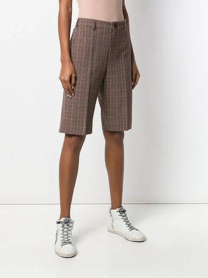 Checked Knee-Length Shorts