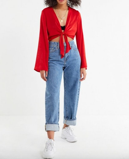 Penelope Satin Tie-Front Cropped Top