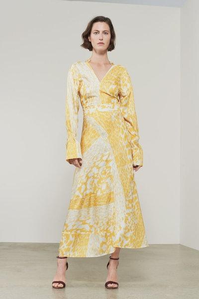 Victoria Beckham Leopard Print Silk Midi Skirt