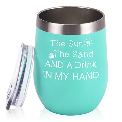 The Sun The Sand and A Drink In My Hand 12 oz Insulated Wine Tumbler