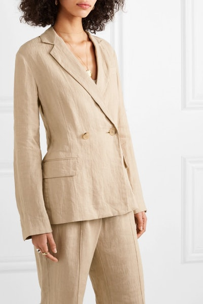 Lena Double Breasted Linen Blazer