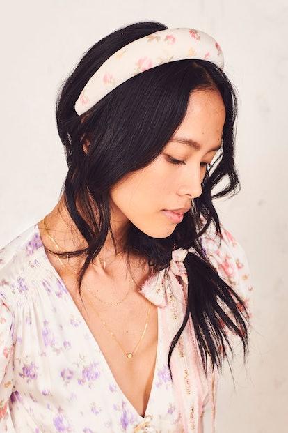 LoveShackFancy x Lele Sadoughi Padded Headband - Pink Romance