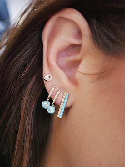 Diamond & Turquoise Enamel Stripe Bar Stud