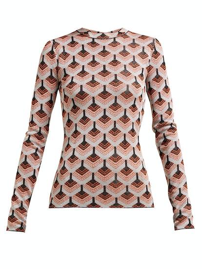 Paco Rabanne Geometric metallic-jacquard top