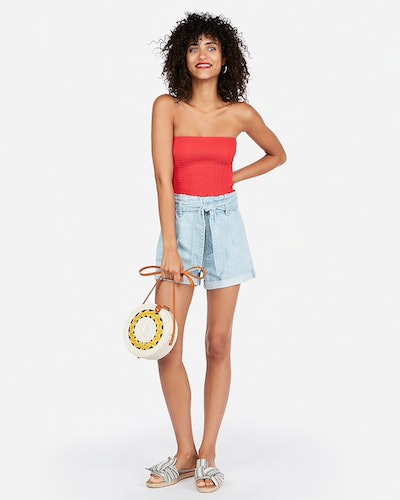 One Eleven Smocked Cropped Tube Top