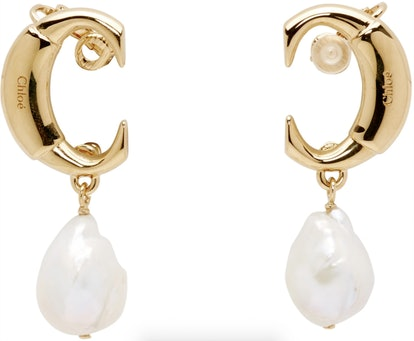 Gold 'C' Pearl Earrings