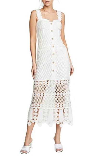 Fishnet Crochet Lace Midi Dress