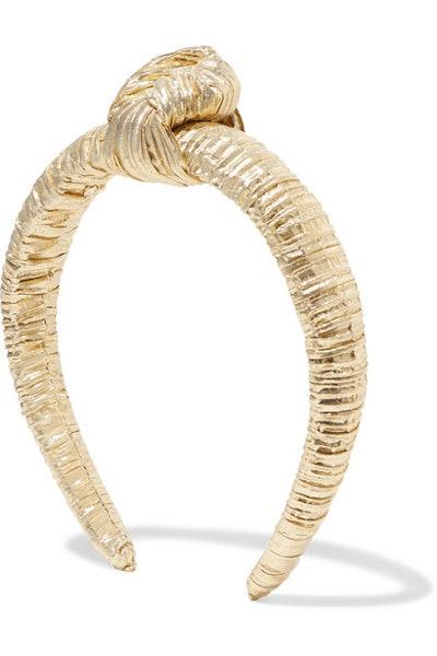Teddie Knotted Pleated Lame Headband