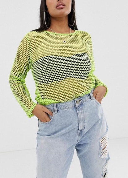 Long Sleeve Fishnet Top In Bright Green